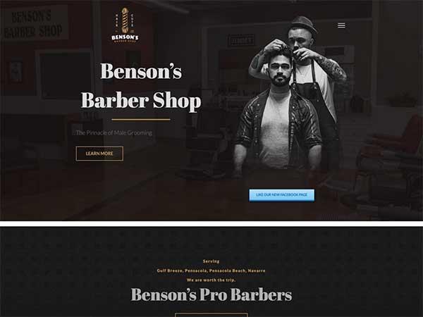 Pensacola web design client Bensons Barbershop